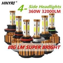 HNYRI 360W 32000LM 4-Side COB Hi/Lo Beam Car Light LED Headlight H11 H7 H4 9005 HB3 9006 HB4 9007 H13 Canbus Light Bulb for Audi