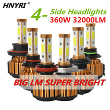 HNYRI 360W pair 32000LM pair 4 Side COB Hi Lo Beam Car Light LED Headlight H11
