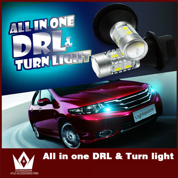 ФОТО Guang Dian car led light Daytime Running Lights with turn light drl with indicator light 7440 5730 T20 WY21W For Outback 2004