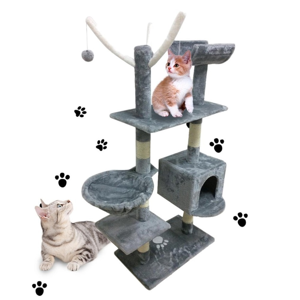 Cat's Tree Tower Condo Scratcher Home Furniture Pets House Hammock Furniture Pets House Hammock Cat's Tree Tower Toy Beige/Grey froggy builds a tree house