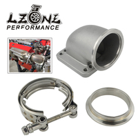 "LZONE   2.5"" Vband 90 Degree Cast Turbo Elbow Adapter Flange 304 Stainless Steel + Clamp For T3 T4 Turbocharger JR TEA25+TPJ25