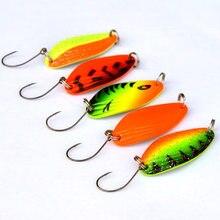 5 pçs 4.5g mini colher de pesca truta iscas esvoaçantes colheres de pesca de água doce japonês iscas girador