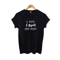 I put a spell on you T Shirt Hipster Punk Rock Brand Women Clothing 2018 Summer Fashion tshirt Black White