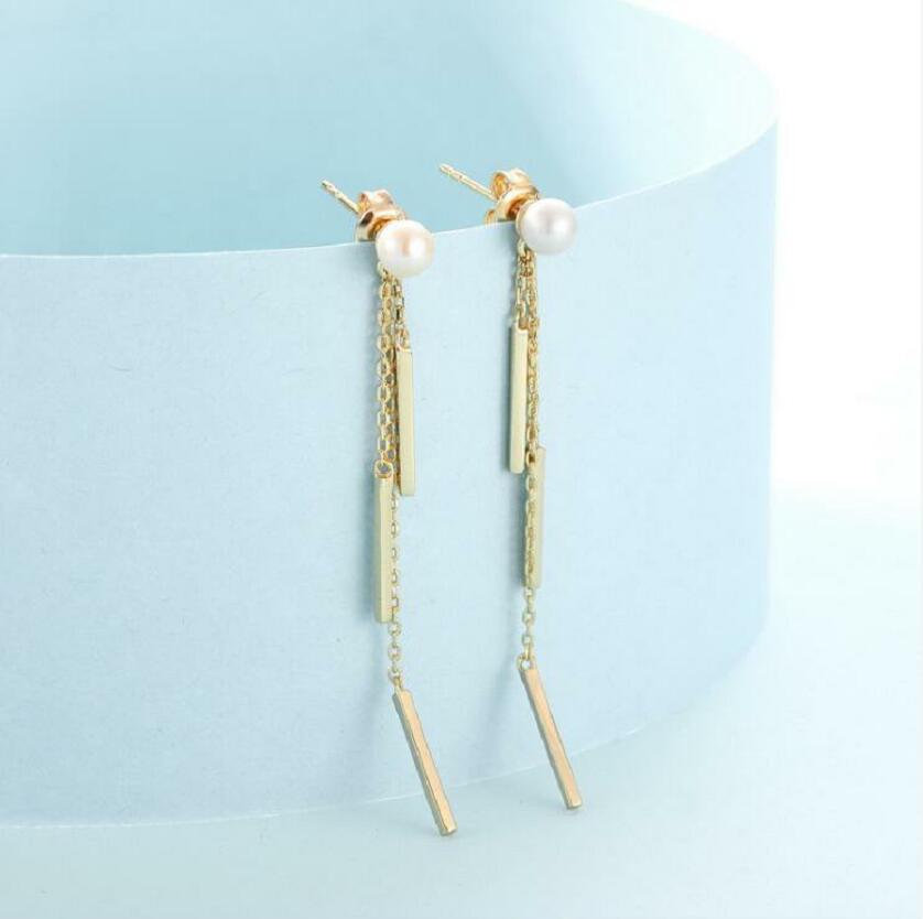 European and American style 925 sterling silver simple personality ladies wind female pearl tassel long earrings J0345 in Earrings from Jewelry Accessories