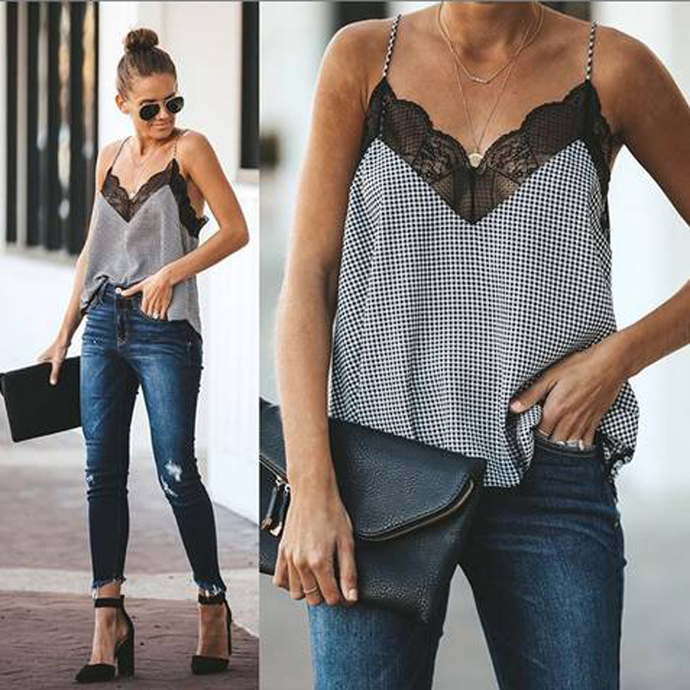 2020 Summer Lace V Neck Vest Tops Women Sleeveless Casual Loose Tank Top Female Shirts Tops Plus size|Camis| - AliExpress