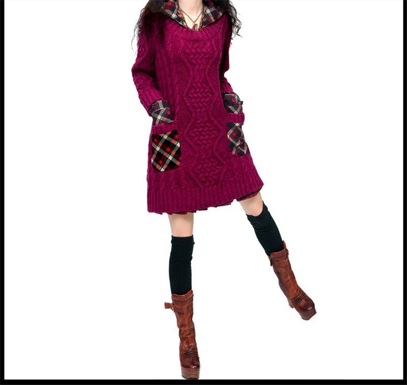 Plaid À Confortable red Tt515 Robe Chaud Chandail En Rétro Femmes Poche Tricot Patchwork Purple Vintage Épais Capuchon Pull dqnv0A