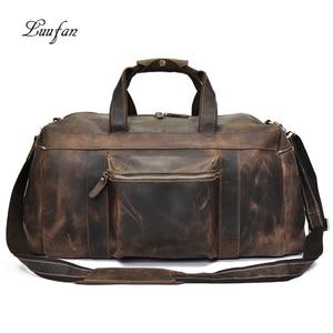 Image 1 - Big Capacity Men Travel Bag Thick Crazy Horse Genuine Leather Male Travel Duffel Extra Large Luggage Handbag Shoulder Bag Tote