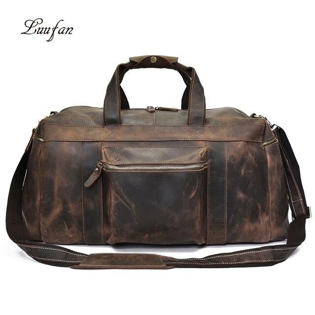 Big Capacity Men Travel Bag Thick Crazy Horse Genuine Leather Male Travel Duffel Extra Large Luggage Handbag Shoulder Bag Tote