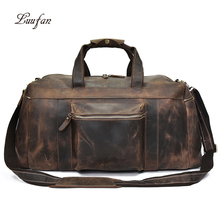 Duża pojemność mężczyźni torba podróżna grube szalony koń prawdziwej skóry mężczyzna torba podróżna bardzo duży bagaż torebka torba na ramię dużego ciężaru