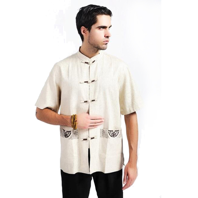 4a1ee80325 Summer Beige Chinese National Trend Male Clothing Men Kung Fu Shirt Cotton  Linen Tops With Pocket