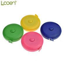 Looen 1pc Plastic Round Tape Measure Portable Travel Home Mini Tape Measure Ruler Sewing Tools Inch/Centimeter Send Random Color(China)