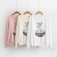 Sweet Cat Print Round Neck Long sleeved Women Pullover Japan Style Kawaii Harajuku Hoodies
