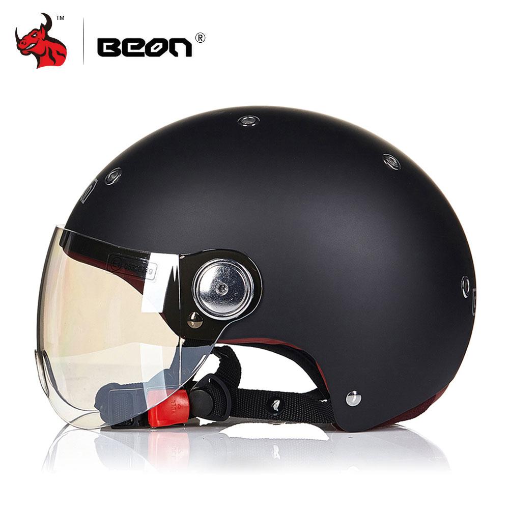BEON Motorcycle Scooter Helmet 3 4 Open Face Halmet Unisex Motocross Vintage Casque Moto Casque Casco