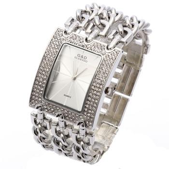 G&D Women Wristwatch Relogio Feminino Quartz Watch Women Dress Rhinestone Luxury Top Brand Original Clock Reloj Mujer Silver