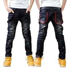 Boys spring jeans fashionable baby boys autumn denim trousers 3 11T kids warm pants black jeans children trousers casual pants