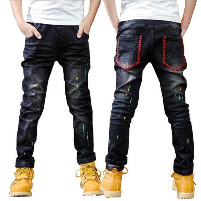 Boys spring jeans fashionable baby boys autumn denim trousers 3 11T kids warm pants black jeans children trousers casual pants