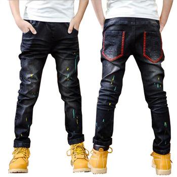 Chłopcy wiosenne dżinsy modne chłopięce jesienne spodnie jeansowe 3-11T dziecięce ciepłe spodnie czarne dżinsy spodnie dziecięce spodnie na co dzień tanie i dobre opinie NoEnName_Null Proste Medium Zipper fly Pasuje prawda na wymiar weź swój normalny rozmiar CJP-013 Stałe Children Regular