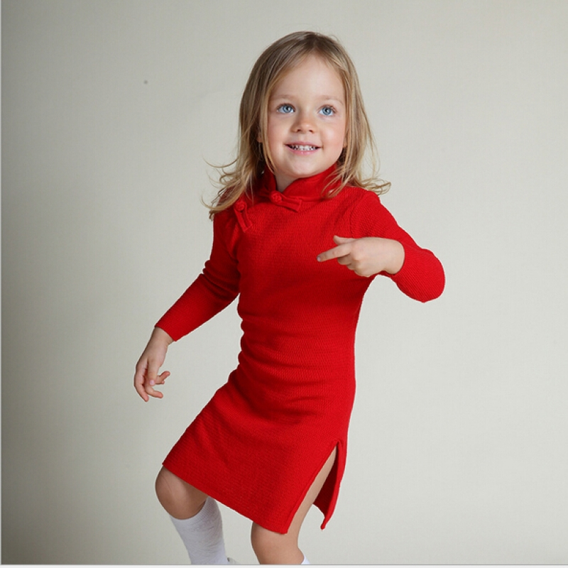 girl cotton knit dress Chinese style costume children's clothing kid cheongsam Long Sleeve qipao Solid color vest dress free shipping new red hot chinese style costume baby kid child girl cheongsam dress qipao ball gown princess girl veil dress