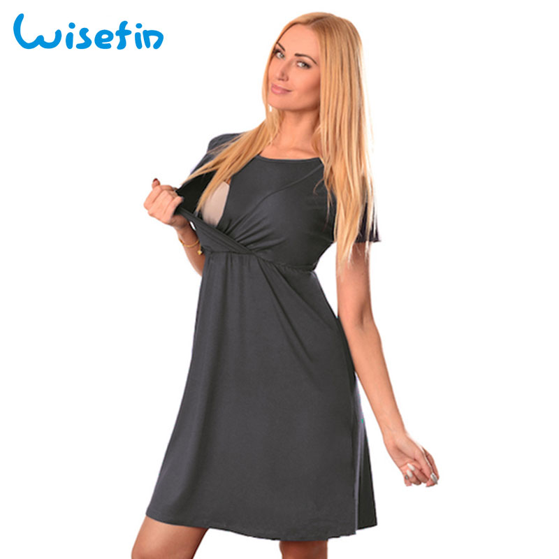 Wisefin Women Nursing Dress Pregnant Women Clothes Fashion Maternity Clothing Dresses Lady Outfits For Pregnancy Dress Summer
