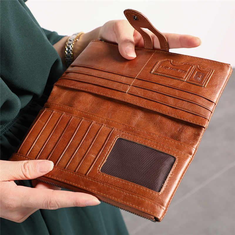 Nesitu RFID Блокировка винтажные длинные черные красный зеленый синий кофе коричневые из натуральной кожи мужские кошельки коровьей женщины кошелек M2072