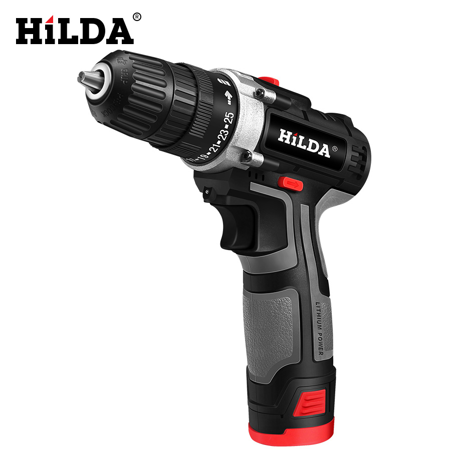 HILDA Electric Drill With Rechargeable Lithium Battery Electric Screwdriver Cordless Screwdriver Two-speed Power Tools 12V