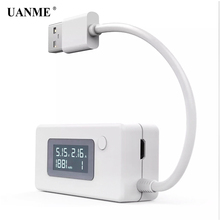 UANME White Micro USB Charger Battery Capacity Voltage Current Tester Meter Detector with LCD for Mobile Smartphone Power Bank ebd m05 mini electronic load tester battery capacity power bank charger and mobile power test equipment 0 1 19 5v 5a 30w