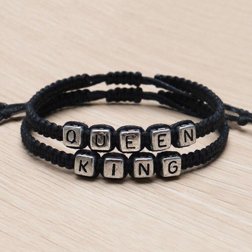 3f37e103fb 1Pair Adjustable Couples Bracelets set King and Queen Bracelet Handmade  Lovers Bracelets