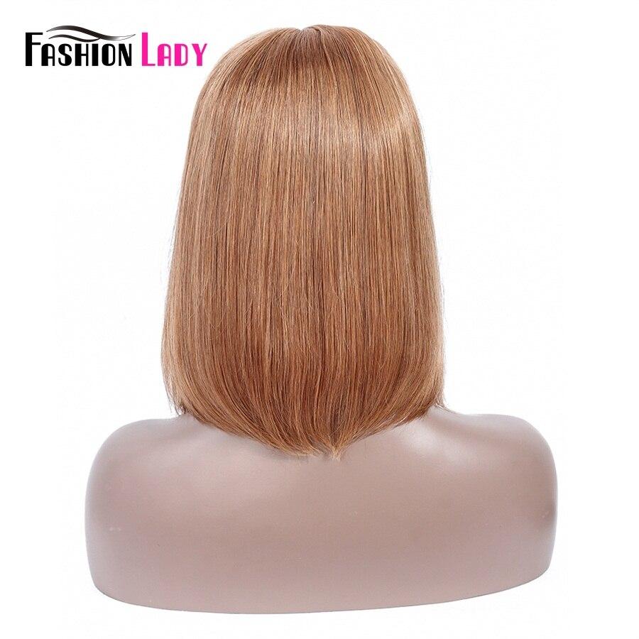 Модные женские предварительно цветные фронтальные парики бразильские человеческие волосы короткие парики боб средней части медовый блонд... - 4