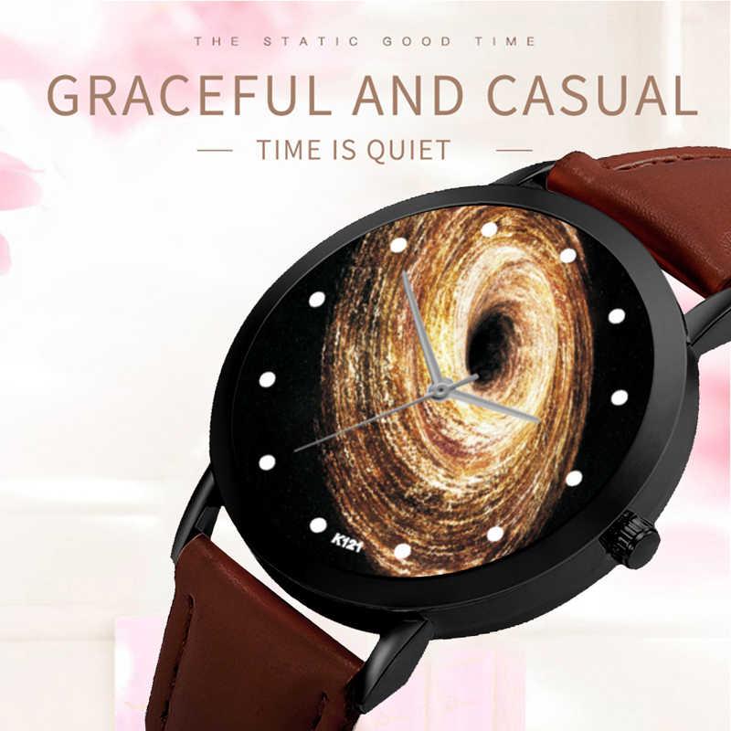 ユニークなソーラーシステムウォッチスペース惑星天文学ユニセックス上品カジュアルクォーツレザーストラップアナログ腕時計モンタフェム