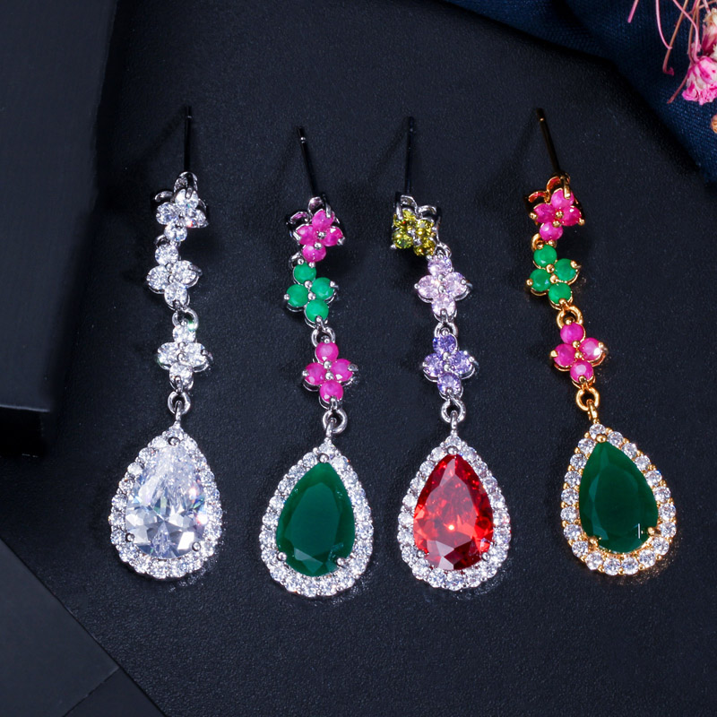 Image 4 - CWWZircons Elegant Multicolored Cubic Zirconia Stone Long Dangle  Drop Party Jewelry Sets for Women Necklace and Earring Set T226jewelry  sets for womenparty jewelry setjewelry sets