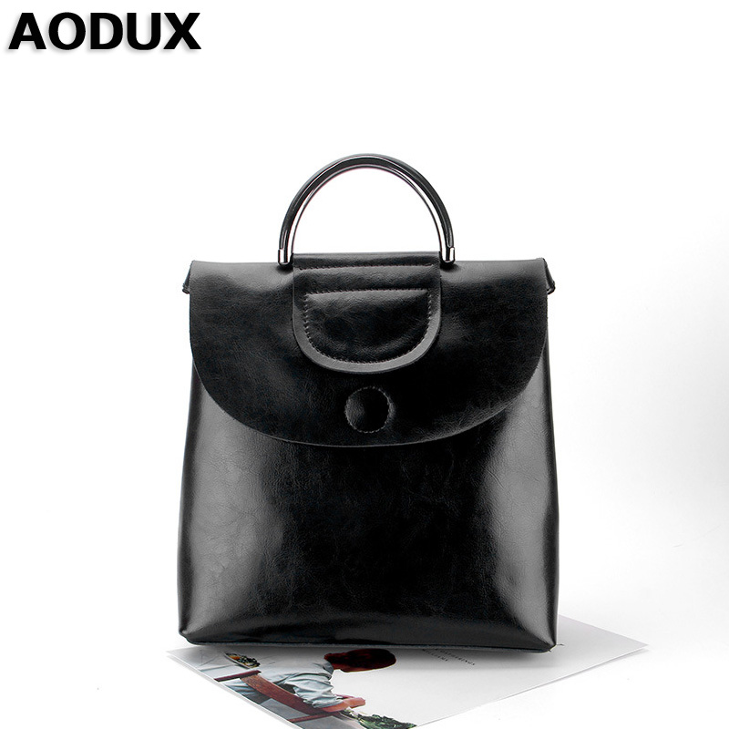 AODUX Designer Fashion Second Layer Cow Leather Women Female Genuine Leather Backpack Cowhide Tote Shoulder Multifunctional Bags zency fashion shopping style handbags women bucket genuine second layer cow leather shoulder messenger cowhide tote bags