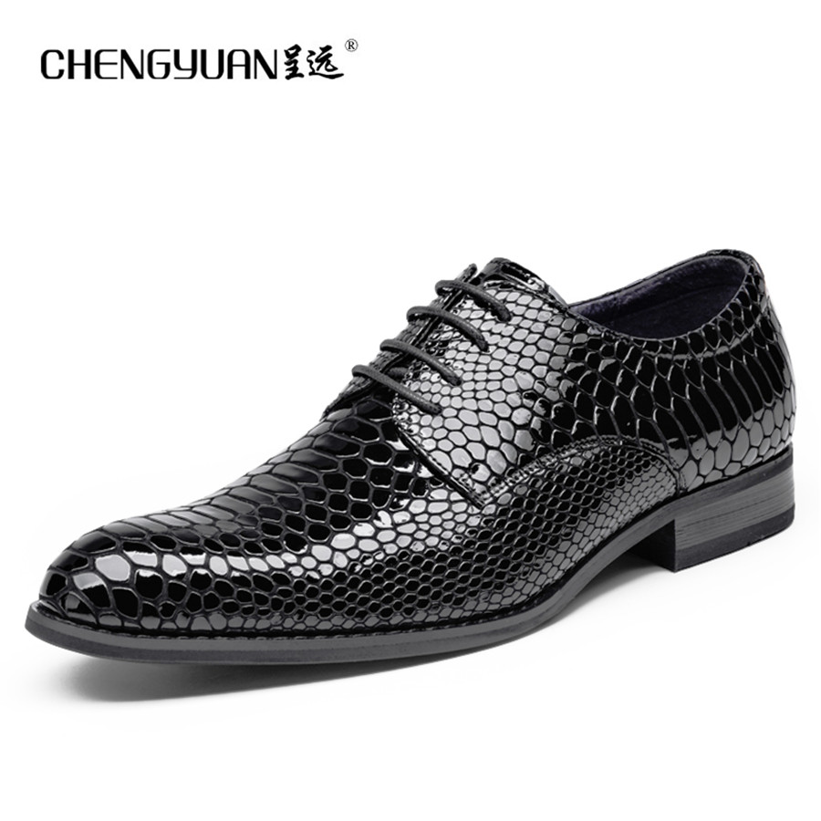 Mens leather flat shoes summer black bright business large size men dress wedding party leather shoes 48  CY833-3 CHEGNYUAN top quality crocodile grain black oxfords mens dress shoes genuine leather business shoes mens formal wedding shoes