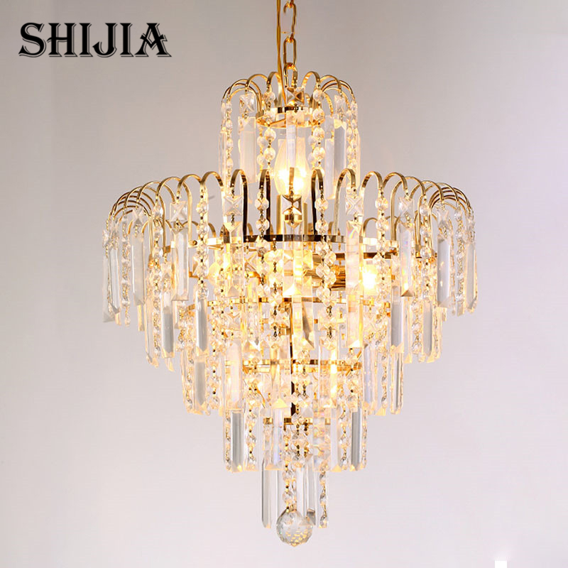 Modern LED Gold Crystal Pendant Lights for Hotel Bar Cafe Garment Shop Living room Bedroom Dining room Restaurant Pendant Lamp 2017 modern luxury crystal pendant light gold for the restaurant bedroom lights led bulb gold