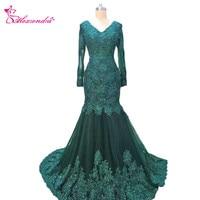 Alexzendra Dark Green Mermaid Long Formal Evening Dress V Neck Long Sleeves Vintage Prom Dress Party Gowns