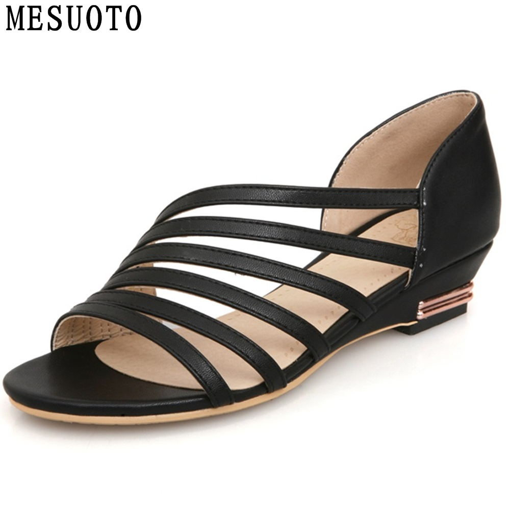 Womens sandals reviews - Mesuoto New Pu Faux Leather Casual Slip Huarache Low Wedge Heel Summer Style Air Sandal Women Shoes Sandals Top Size Us 12
