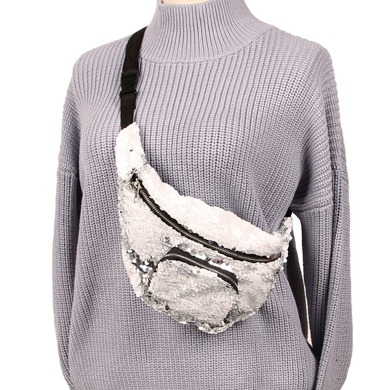 Yesello Women Sequins Makeup Bag Mermaid Wallet Purses Female Messenger  Bags Travel Storage Bag Gilrls Waist Bag-in Waist Packs from Luggage   Bags  on ... 60e41895e1fd