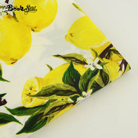 50cm X145cm Fresh Lemon and Leaves Style Cotton Poplin Fabric Patchwork Sheet Desk Decoration Skirt Dress Material Half Meter
