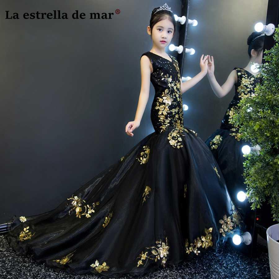 6e09fb298c87 ... v образным вырезом черного и золотого цвета блеск Сексуальная Русалка  Платья для младенцев длинные красивые девушки бальный наряд изготовление  под заказ ...