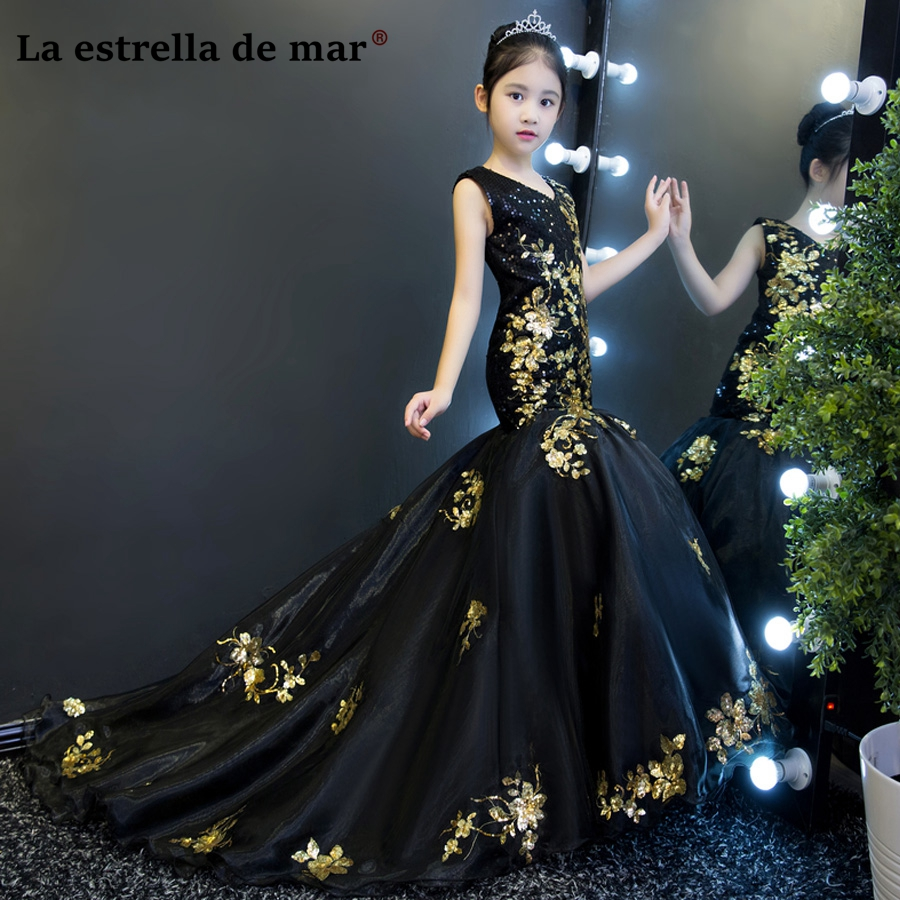 Vestidos De Comunion2018 V Neck Black Gold Glitter Sexy Mermaid Flower Girl Dress Long Beautiful Girl's Ball Gown Custom Made