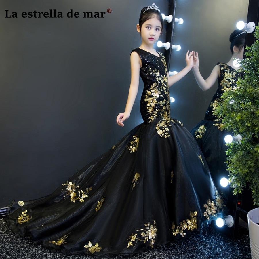 Vestidos De Comunion2018 V Neck Black Gold Glitter Sexy -1212