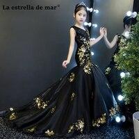 Vestidos de comunion2018 v образным вырезом черного и золотого цвета блеск Сексуальная Русалка Платья для младенцев длинные красивые девушки бальный н