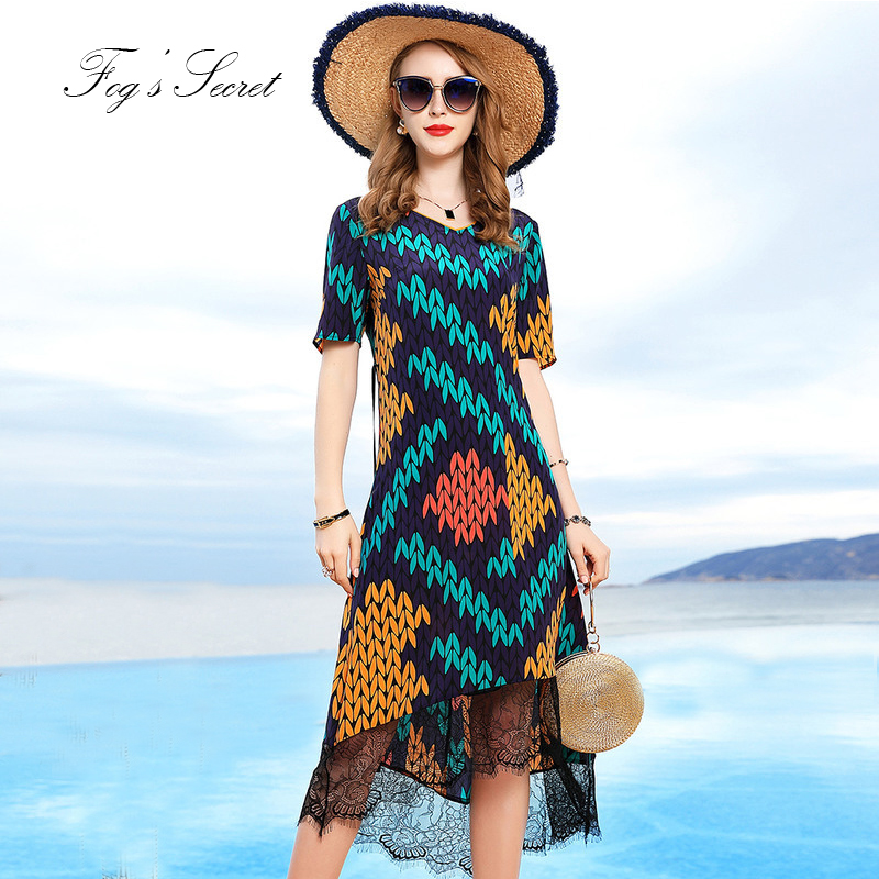 Women Dress Real silk 2019 Colorful Green Print Flower Lace Loose Plus size Dress with sashe XXXL L Size