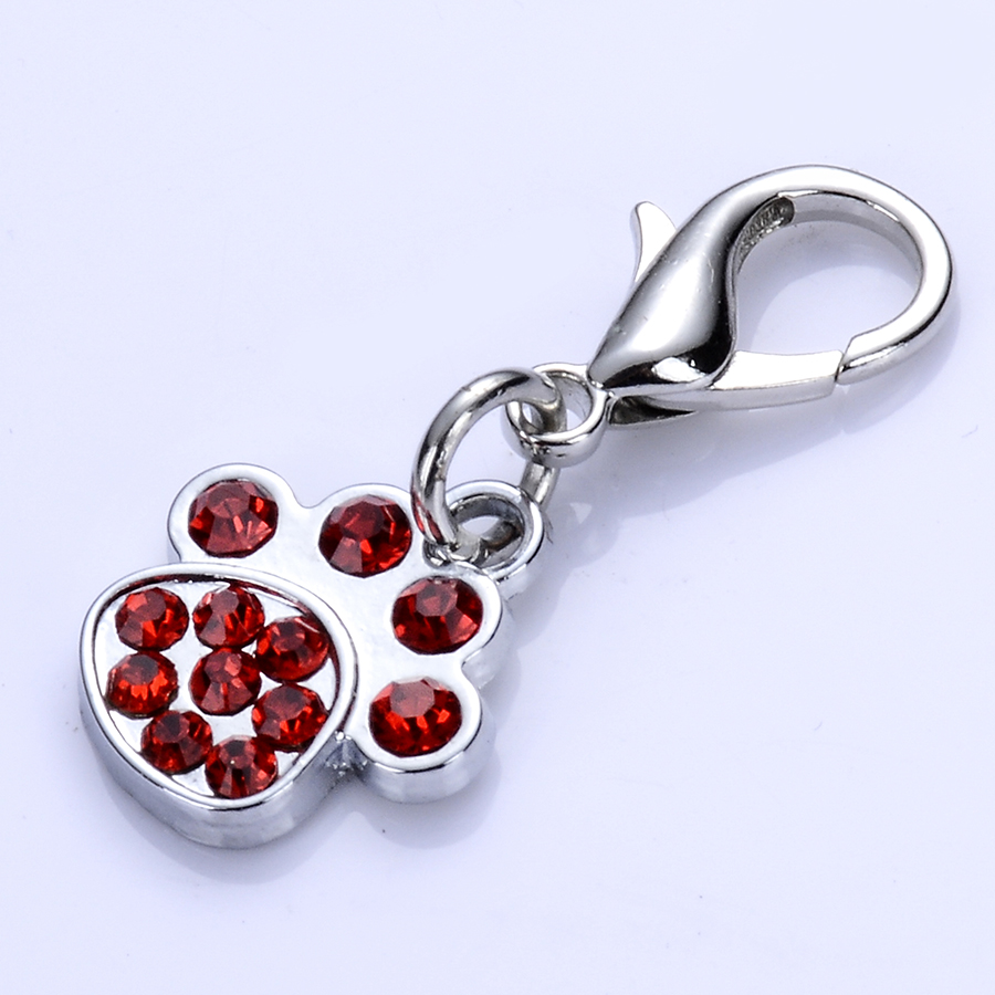 Red White Rhinestone Dog Tag Crystal Paw Shaped Charms For Dog - Produk haiwan peliharaan