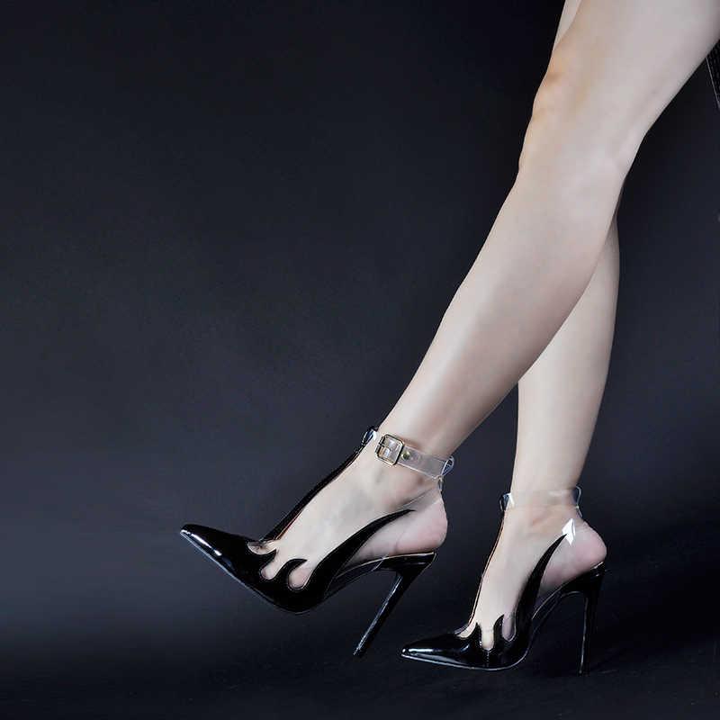 Pink Palms ยี่ห้อรองเท้าผู้หญิงรองเท้าแตะแนวโน้มรองเท้าแตะ PVC โปร่งใสรองเท้า Slingback in ปั๊มรองเท้าส้นสูงชี้ Toe รองเท้า