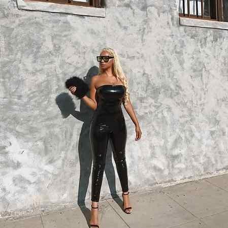Черный комбинезон из искусственной кожи женский бодикон облегающий цельный комбинезон на молнии сзади Вечерние сексуальные боди комбинезон Клубная одежда DW629
