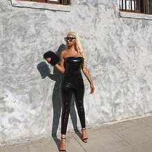 Black Faux Leather Jumpsuit Women Bodycon Tight One Piece Jumpsuit Back Zipper Party Sexy Bodysuit Catsuit Clubwear DW629(China)