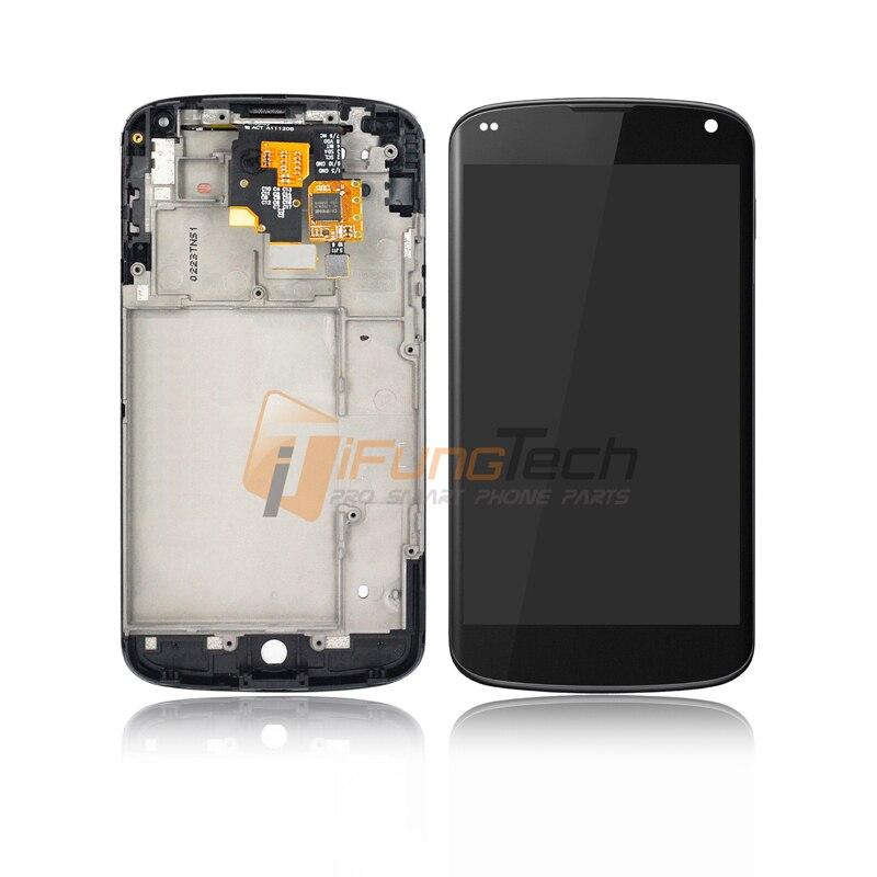100% Guarantee New Black for LG Google Nexus 4 E960 Touch Screen Digitizer LCD Display Full Frame Assembly 5PCS 100% guarantee a lcd display touch screen digitizer glass frame full assembly lcds for iphone5s white black free shipping