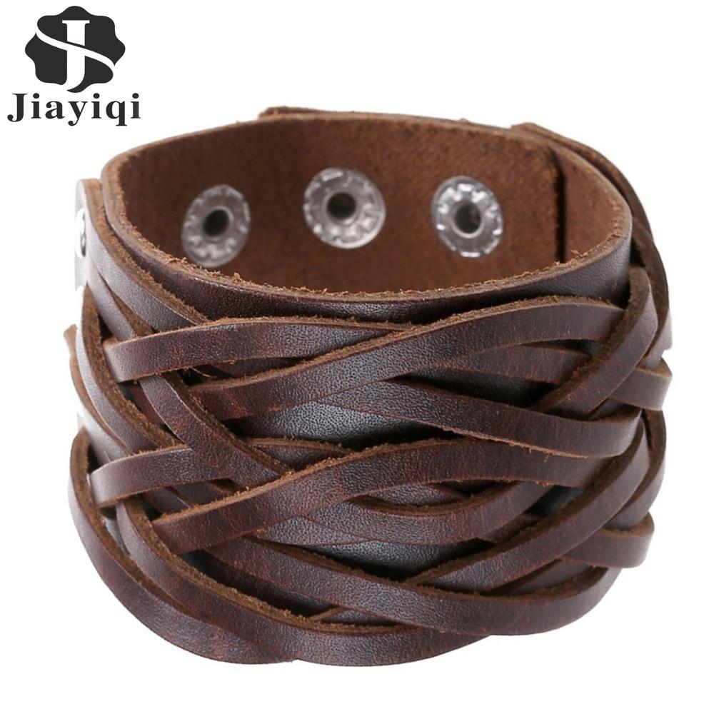 Jiayiqi New 3 Colors Genuine Leather Bracelets Punk Wide Cuff Bracelets &  Bangles For Women Men