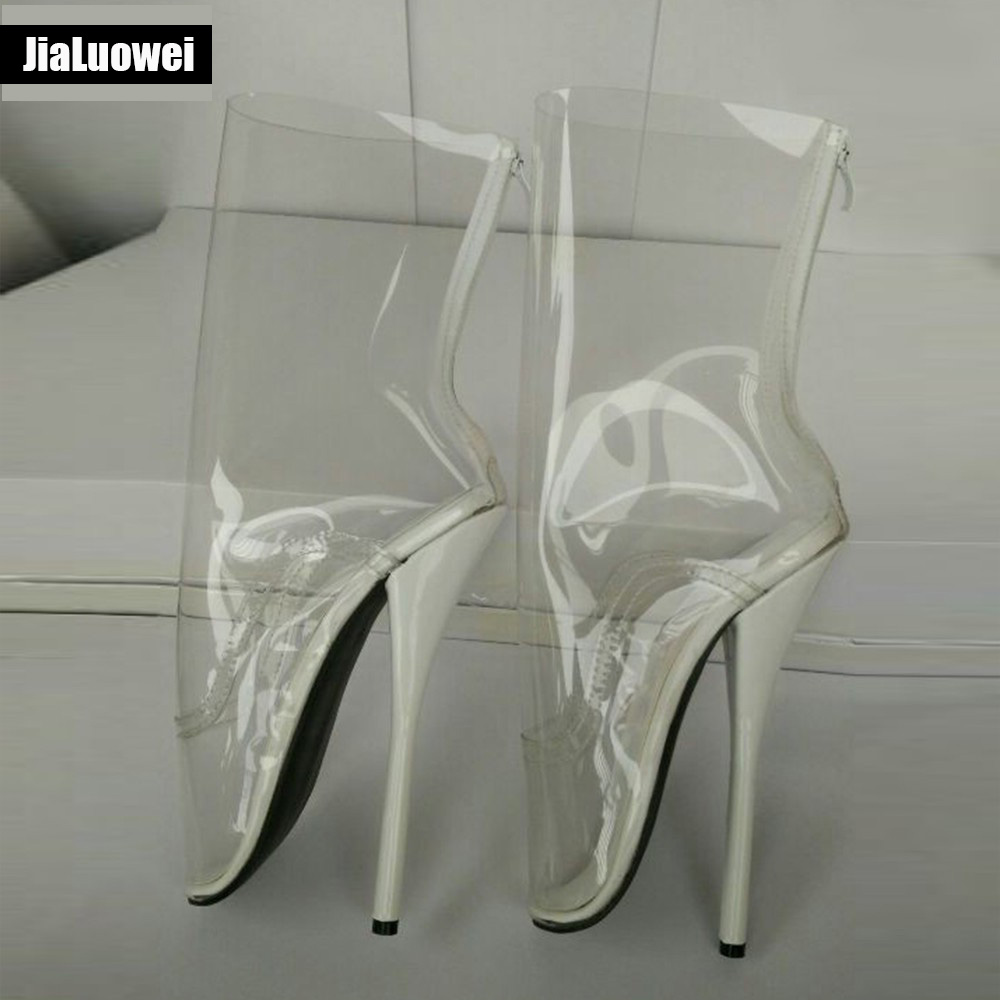 18cm /7 Extreme High High Heel Clear PVC BALLET Boots Women Sexy fetish High-Heel Queen transparent Ballet Mid-Calf Boots double buckle cross straps mid calf boots