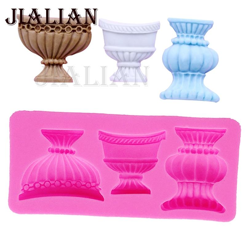Europäische klassische blume vase Silikon Form, Zucker Lutscher Form, Schokolade Formen, Kuchen Dekoration Werkzeug backen formen T0303